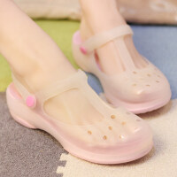 韩版厚底坡跟洞洞鞋女夏季拖鞋玛丽珍变色沙滩鞋软底果冻凉鞋