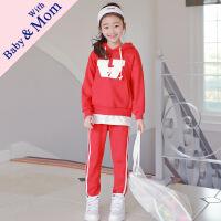 秋季新款套装韩版中大童运动卫衣两件套连帽卫衣亲子装