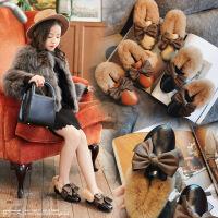 女童豆豆鞋加绒冬季蝴蝶结公主鞋女孩软底保暖毛毛鞋