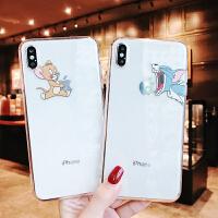 搞怪卡通苹果X/XS/Max/XR手机壳7plus/8可爱猫和老鼠情侣款软壳6s 6/6S 透明tpu 吃苹果猫咪