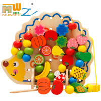 益智串珠绕珠系列积木 刺猬水果串珠穿线木质玩具穿绳子游戏