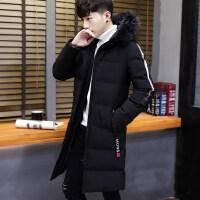 男士冬季外套2018新款韩版修身帅气棉衣男中长款潮流男装棉袄 2X
