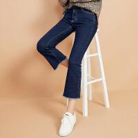 【618狂欢购,领券满500减300】美特斯邦威牛仔裤女冬季新款韩版显瘦修身喇叭bf风学生裤子