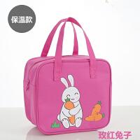 中小学生手提袋帆布包便当包男女中小学生韩版午餐袋大号防水帆布小孩儿童饭盒袋手提包 玫红色 保温款-玫红兔子