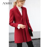 【到手价:367元】Amii极简英伦风双襟翻领毛呢外套2018冬新中长显瘦粗纺毛呢外套