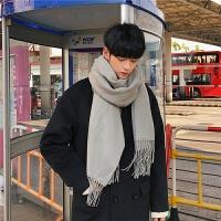 秋冬季纯色男女学生韩国长款黑百搭针织毛线围巾加厚保暖披肩两用