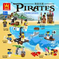 万格乐博士 海盗船海贼小颗粒积木拼插玩具人仔公仔益智玩具