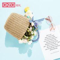 aza2019夏季新款女包ins韩版简约潮流苏草编织包水桶包手提包女