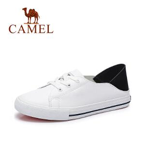 Camel/骆驼女鞋  春季新款 休闲舒适系带小白鞋 复古简约春鞋