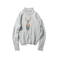 冬季卡通半高领毛衣男士加厚保暖套头针织衫潮流韩版宽松线衫衣服