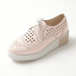 ELEISE美国艾蕾莎春季上新003-V7韩版松糕底镂空女士松糕鞋