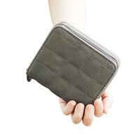 格子迷你小钱包女 拉链钱夹可爱零钱包学生短款卡包