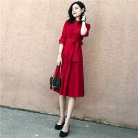 秋装女2018新款长袖中长款连衣裙秋冬打底裙收腰显瘦复古红裙子 红色 XL