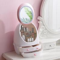 【爆款】网红化妆品收纳盒LED灯镜子抽屉式手提桌面护肤品置物防尘化妆盒