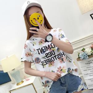 新款时尚半袖园领打底衫简约白t恤女短袖体恤上衣女