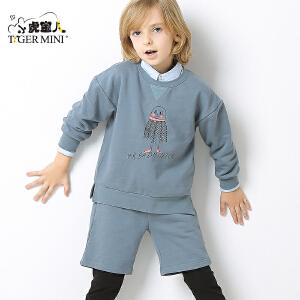 小虎宝儿童装男童套装秋款2017新款儿童上衣裤子两件套中大童韩版