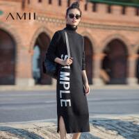 【AMII 超级品牌日】AMII[极简主义]冬高领撞色字母长袖开衩长款连衣裙女11681773