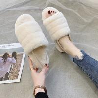 拖鞋女ins潮毛毛保暖拖鞋女时尚拖鞋2019新款外穿两穿居家棉拖鞋