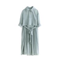 魅儿双层领两件套裙子夏季清新甜美收腰短袖上衣吊带连衣裙GH093 薄荷绿 均码