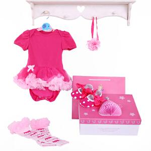 货到付款 Yinbeler女婴儿哈衣短袖棉春夏新生儿0-12个月满月礼物女宝宝公主裙立体礼盒套装玫红