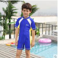 儿童泳衣男女中大童速干撞色儿童大码泳衣运动短袖时尚游泳衣防晒 可礼品卡支付
