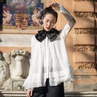 生活在左2019春夏季新款时装周米白色纯棉衬衣休闲文艺衬衣女衬衫