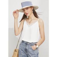Amii极简时尚细肩带拼接蕾丝V领吊带背心女2021夏季新款百搭上衣