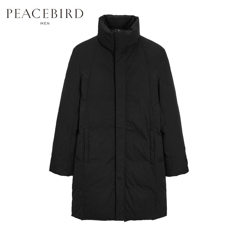 太平鸟男装 冬季新款韩版立领中长款羽绒服B1AC74405