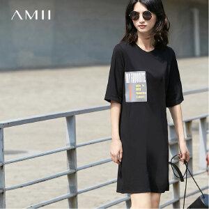 【品牌团 1件7折/2件5折】Amii[极简主义]2017夏新品字母印花休闲T恤裙 11762604