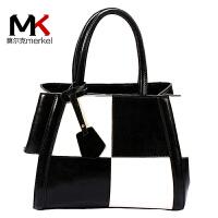 莫尔克(MERKEL)牛皮女包2018新款包包撞色包时尚牛皮大包单肩斜跨黑白拼色手提包潮
