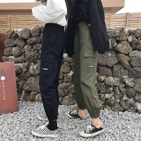 B裤子女秋冬新款韩版宽松工装裤显瘦哈伦裤高腰九分裤休闲裤学生