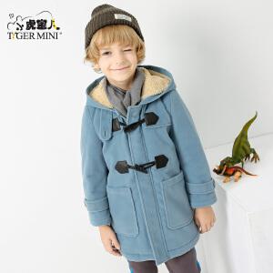 【尾品汇直降】小虎宝儿童装男童呢子大衣外套2018新款韩版夹棉加绒中大童呢子褂