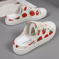 半拖鞋女帆布鞋无后跟平底2019新款夏季韩版百搭懒人一脚蹬小白鞋 草莓