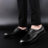 男士正装皮鞋男鞋夏季新品头层皮男鞋英伦皮鞋商务皮鞋休闲鞋大码婚鞋潮鞋 黑色