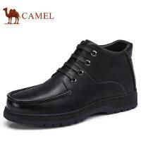 camel 骆驼男靴秋冬新品商务休闲真皮系带加绒保暖男士皮鞋子