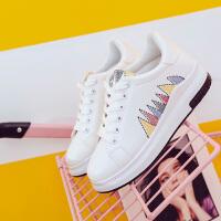 新款透气单鞋女韩版时尚板鞋休闲鞋系带百搭学生运动鞋内增高女鞋