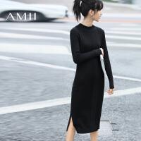 AMII[极简主义]秋冬修身大码中长款针织毛衣连衣裙女11681775