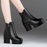 秋冬季女鞋粗跟短靴女春秋单靴高跟马丁靴女英伦风厚底短筒女靴子
