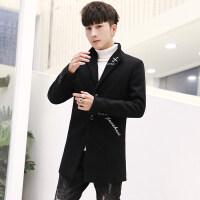 秋冬季毛呢大衣男中长款韩版潮流呢子外套男士风衣英伦妮子西装潮
