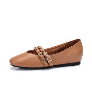 Camel/骆驼女鞋 2018春季新品 复古休闲套脚单鞋女平底玛丽珍鞋