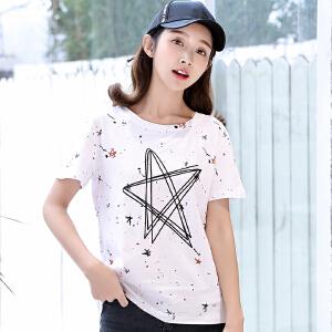 韩版夏装新款星星t恤女短袖白色圆领宽松学生上衣