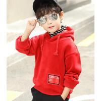 男童卫衣套头连帽儿童外套秋冬装潮上衣童装
