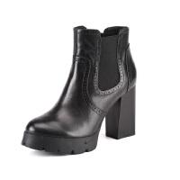 St&Sat/星期六秋冬新款牛皮英伦高粗跟短靴女鞋SS54112979