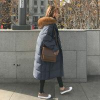 2018冬季新款羽绒女中长款过膝ins棉衣加厚棉袄外套潮 深灰色 S