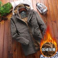 吉普盾 棉衣男装外套青年冬装大码加绒加厚中长款棉服棉袄男爸爸装父亲装