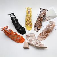 单波西米亚风绑带罗马凉鞋复古小清新粗跟原单大码凉鞋女