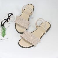 一字带凉鞋女夏平底学生韩版荷叶边2019新款时尚百搭一鞋两穿凉拖 米白色 偏小一码