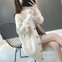 秋冬季针织开衫中长款宽松毛衣外套女2019加厚韩版针织衫外套
