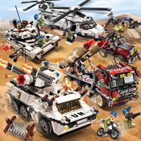 儿童拼装�犯呋�木维和部队装甲车玩具军事系列坦克飞机