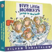 Five Little Monkeys Jump in the Bath 五只小猴子去洗澡 英文原版 大本纸板书 廖彩
